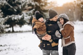 Family in winter on a vacation